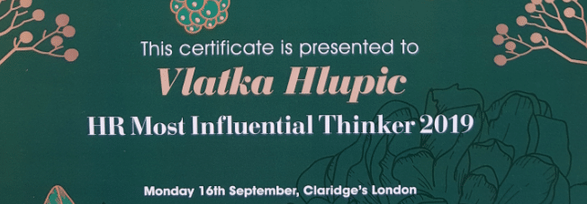 Professor Vlatka Ariaana Hlupic voted one of the Most Influential HR Thinkers in the world in 2019 – Press release